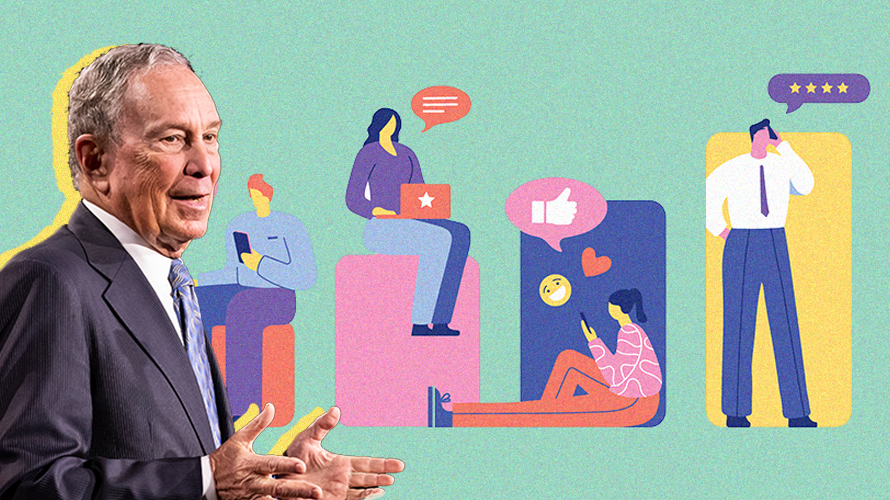 Illustration of people using social media and texts next to photo of Mike Bloomberg